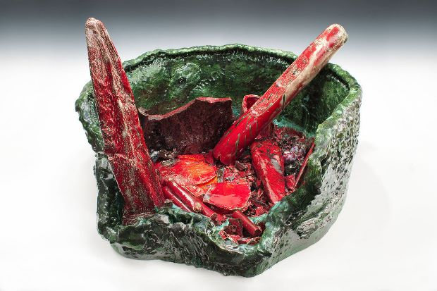 Sterling Ruby, Basin Theology/Butterfly Wreck, 2013, Ceramic, 28 1/8 × 39 3/8 × 41 inches (71.4 × 100 × 104.1 cm). © Sterling Ruby. Photograph by Robert Wedemeyer