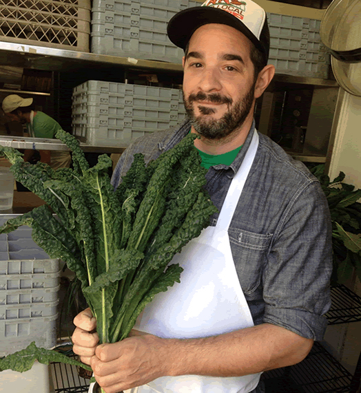 On Vegetables chef and author Jeremy Fox - in a baseball cap