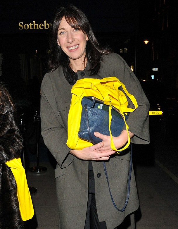 Samantha Cameron leaves Sotheby's with her copy of London Uprising
