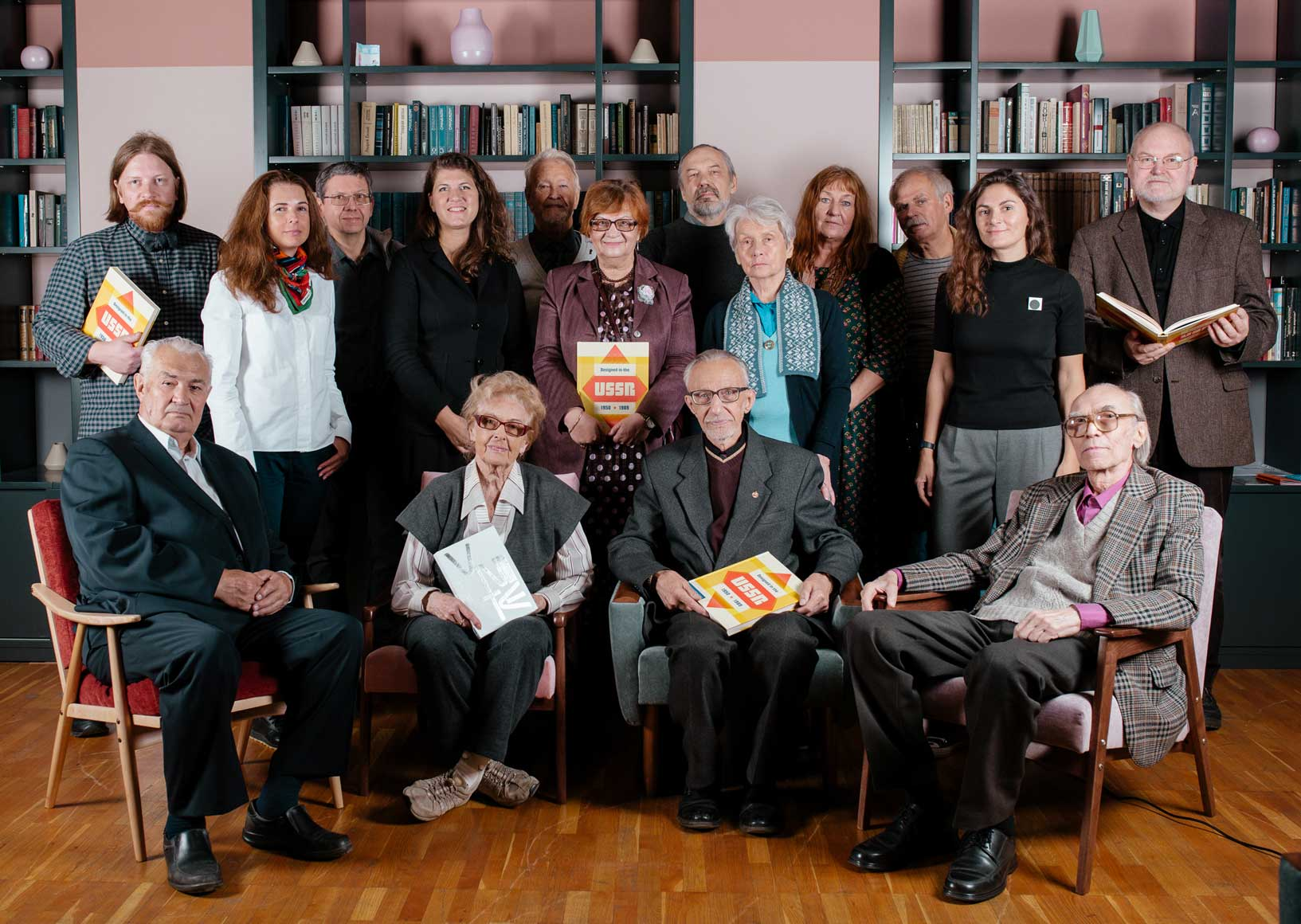 Some of the designers featured in Designed in the USSR: 1950-1989 photographed at the Tretiakov Gallery in Moscow last month. Sitting, from left to right: Oleg Kostenko, Irina Kostenko, Vladimir Runge, Alexander Grashin; Standing, front, left to right: Olga Druzhinina, Alexandra Sankova, (unknown), Marina Timofeeva, Sveta Chirkova; Standing, back, left to right: Stepan Lukyanov, Alexander Lavrentyev, (unknown), Alexey Kolotushkin, (unknown), (unknown), Igor Lisenko