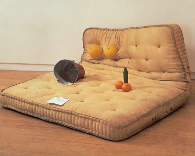 Sarah Lucas - Au Naturel 1994 Mattress, water bucket, melons, oranges and cucumber