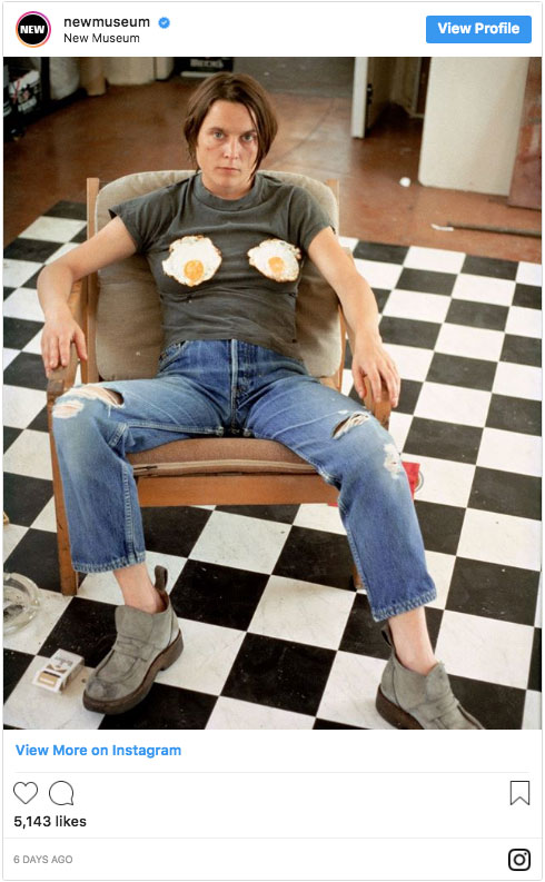 "Sarah Lucas, ""Self-portrait with Fried Eggs,"" 1996. As posted on the New Museum's Instagram"