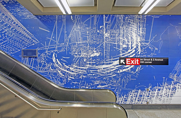 Sarah Sze's Blueprint for a Landscape (2016) at the 96th Street station. All photos: Metropolitan Transportation Authority