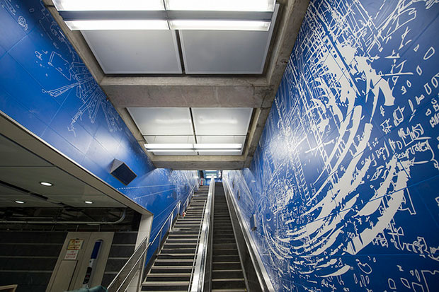 Sarah Sze's Blueprint for a Landscape (2016) at the 96th Street station.