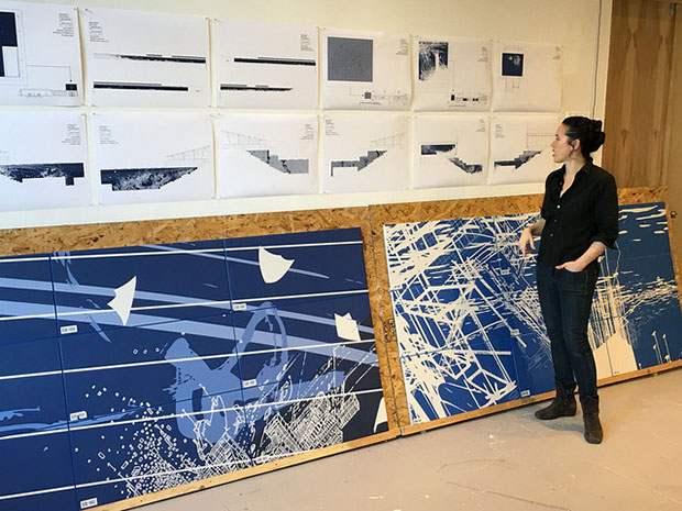 Sarah Sze working on her MTA commission Blueprint for a Landscape (2016).