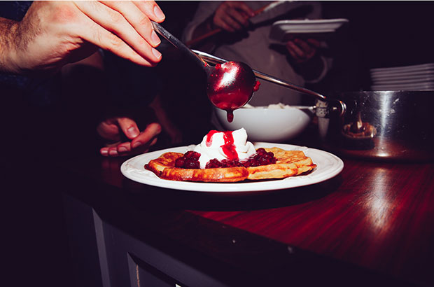 Raspberry and whipped-cream waffles. Photograph by Michelle Heimerman