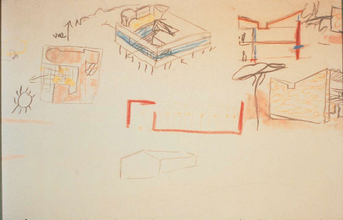 Detail of a drawing for Princeton University lecture, 16 November 1935, showing Le Corbusier's Villa Savoye (left and center), and his Villa le Sextant (1934–35), on the Atlantic coast of France (right). From Le Corbusier Le Grand