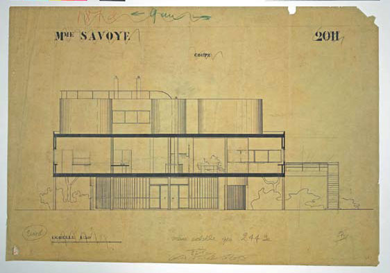 Section drawing of Villa Savoye, October 1928, by Le Corbusier. As reproduced in Le Corbusier Le Grand