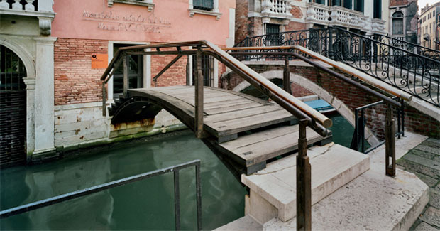 Carlo Scarpa, Fondazione Querini Stampalia Renovations; New bridge with Istrian Stone treads on the Campiello leading to the Fondazione entrance