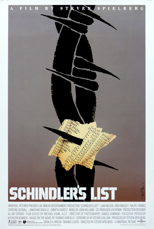 Bass's undstributed poster for Schindler's List (1993)