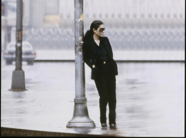 Still from the Walking on Thin Ice video (1981) by Yoko Ono