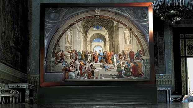 The School of Athens (1509-10) by Raphael, on show at Palazzo Realein Naples