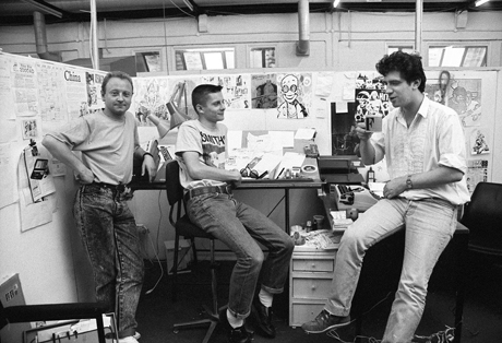 Brett Ewins, Jamie Hewlett and Steve Dillon in the Deadline offices (1988) by Steve Cook