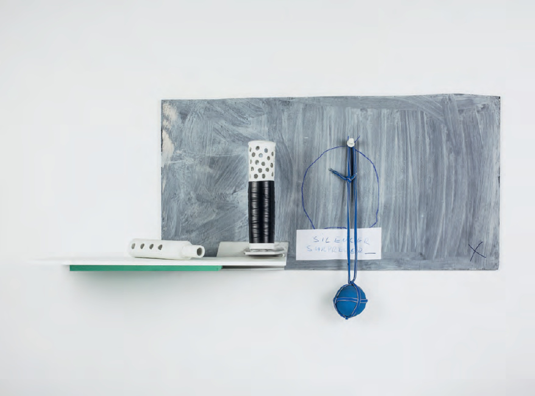 Silencer Supressor, 2015 Porcelain, granite, aluminum, rubber, and paper and acrylic on panel - JJ PEET - courtesy the artist and On Stellar Rays