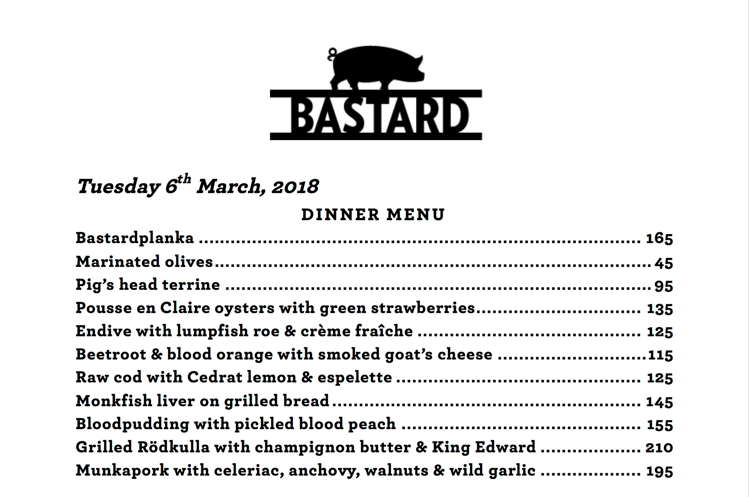 The menu at Bastard recommended in Where Chefs Eat