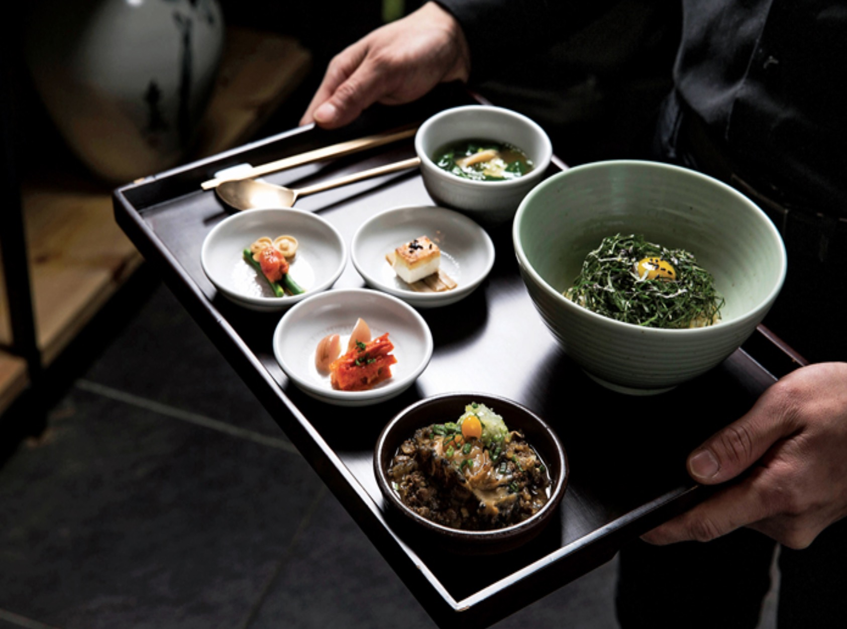 A tray of food at Mingles, Seoul - recommended by Where Chefs Eat