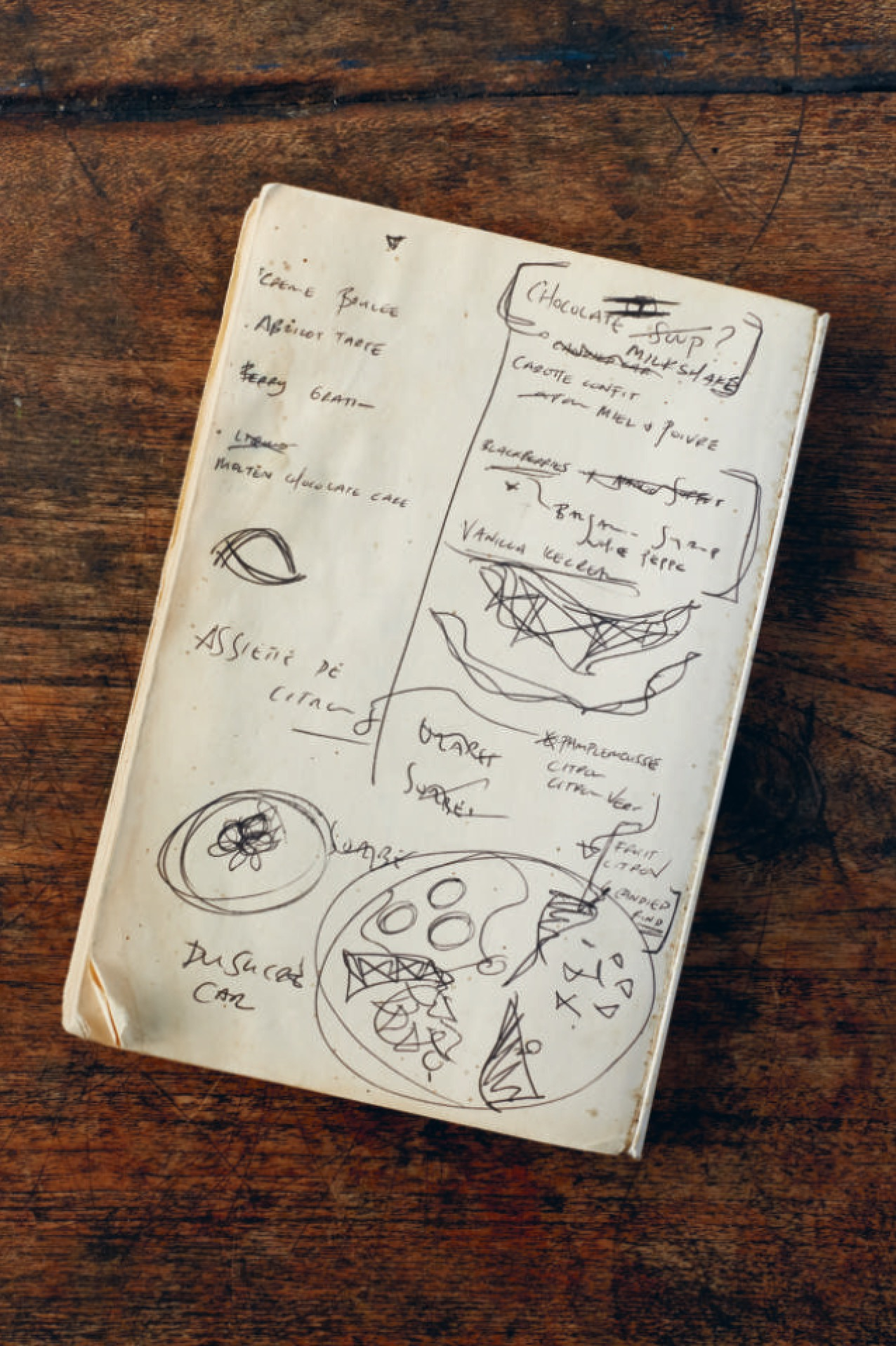 Will's scribbled pastry menu in his £Ernest Hemingway paperback