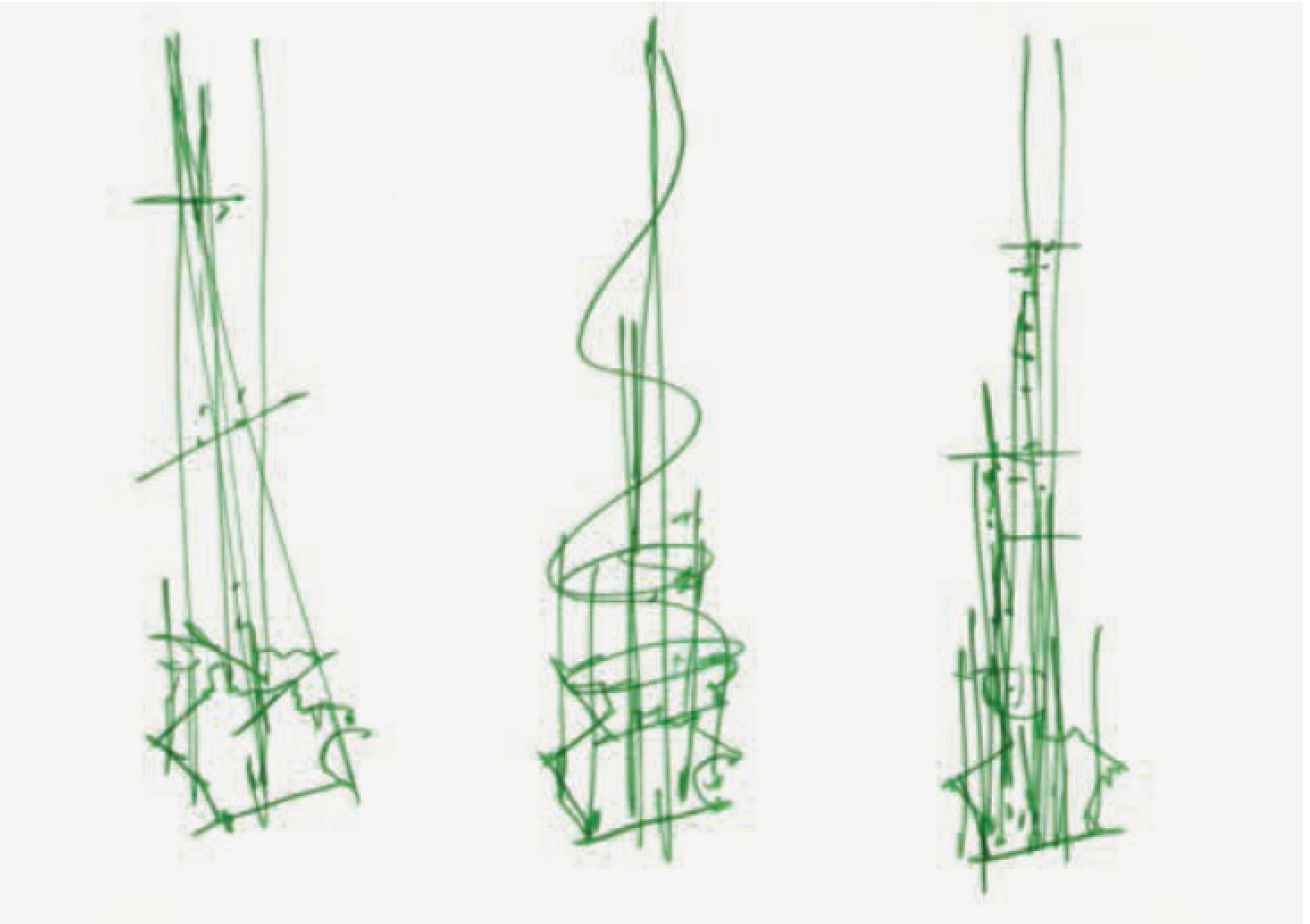 Renzo Piano's original sketches for The Shard as featured in Drawing Architecture
