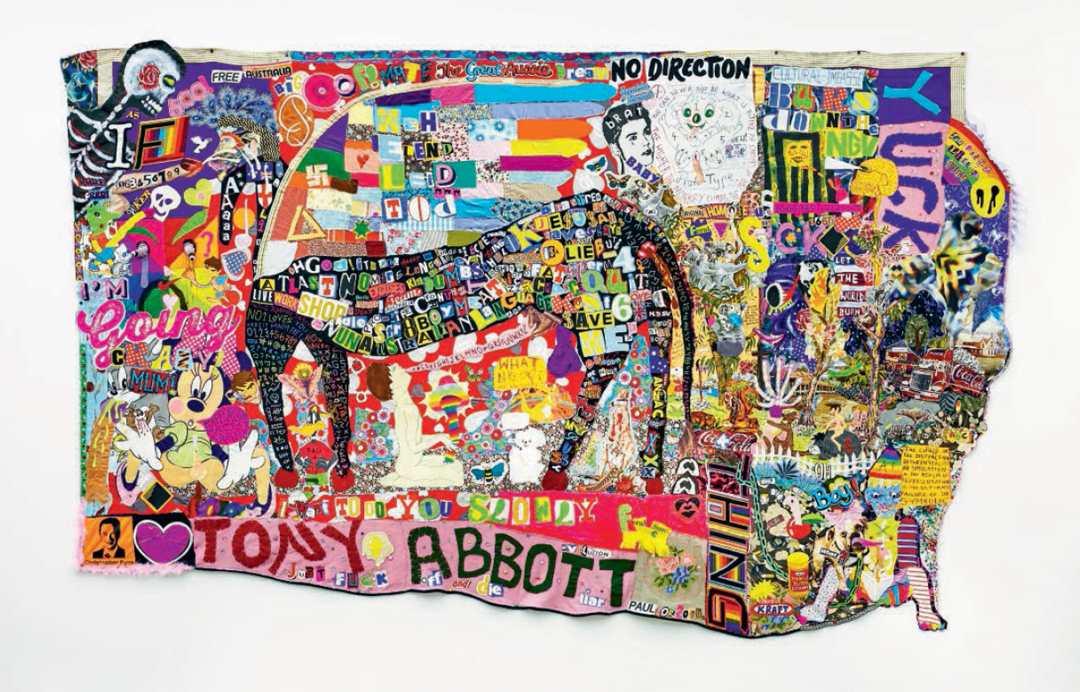 What A Horrid Fucking Mess, 2016 - Paul Yore - Mixed-media appliqué; found fabric, found objects, beads, buttons, sequins, felt, wool, cotton thread, synthetic fur, feather boa, acrylic paint and marker