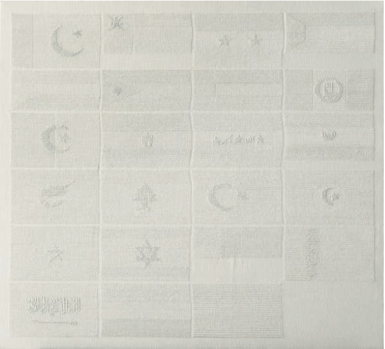 Untitled (White Flags # 1:1)-2012–13 - Cristiana de Marchi - Embroidery on canvas