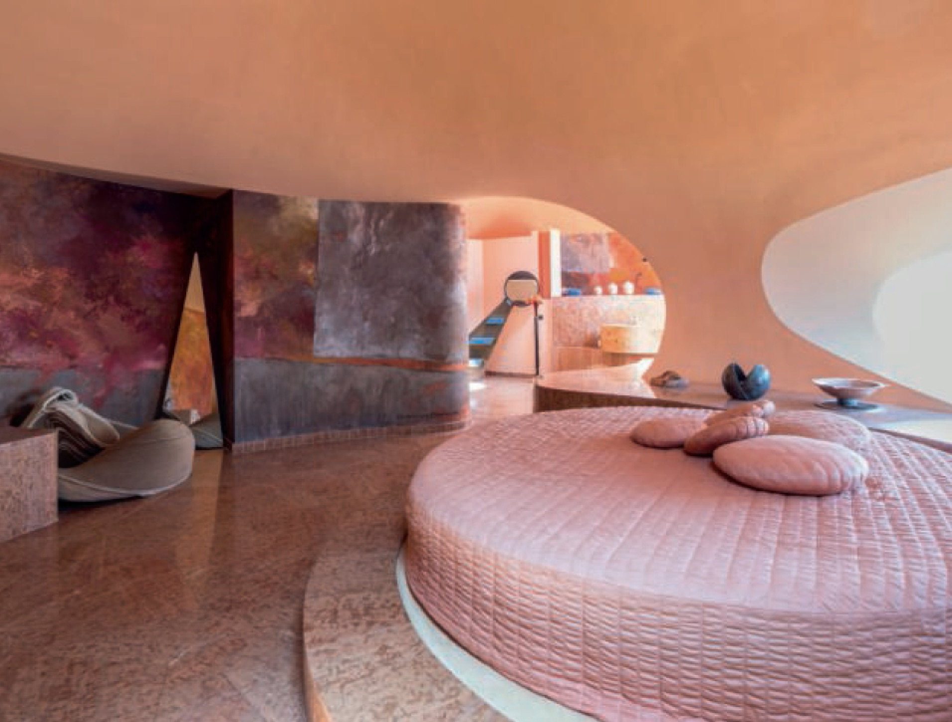 Palais Bulles Designers Antti Lovag & Pierre Cardin Bedroom, Cote d'Azur, France Completed 1992 - as featured in Interiors: The Greatest Rooms of the Century