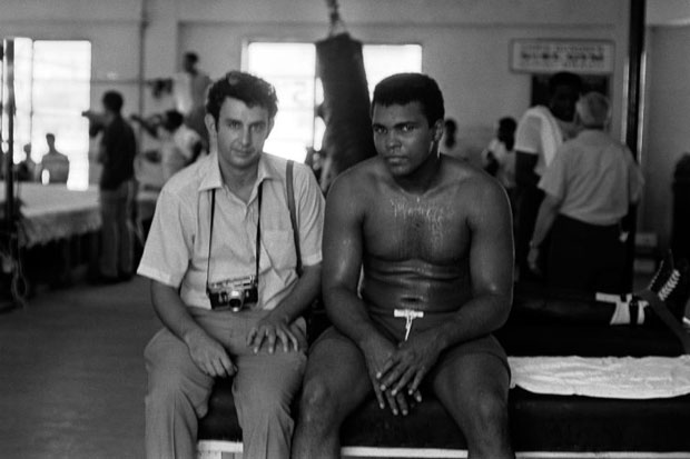 Danny Lyon and Muhammad Ali before Ali's second fight with Jerry Quarry 1972