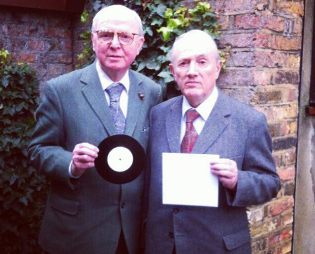"Gilbert & George with their bare sleeve. Courtesy of Secret 7""'s Instagram feed."