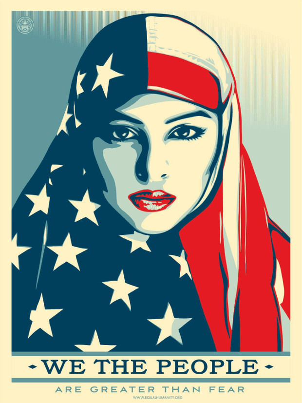 Greater Than Fear by Shepard Fairey. Photographer: Delphine Diallo. From the Amplifier Foundation's We The People campaign.