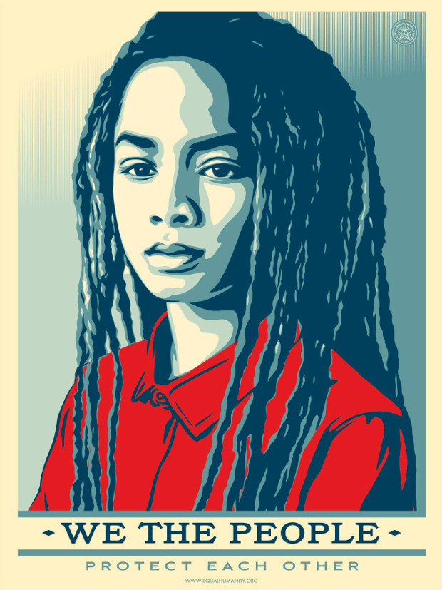 Protect Each Other by Shepard Fairey. Photographer: Arlene Mejorado. From the Amplifier Foundation's We The People campaign.