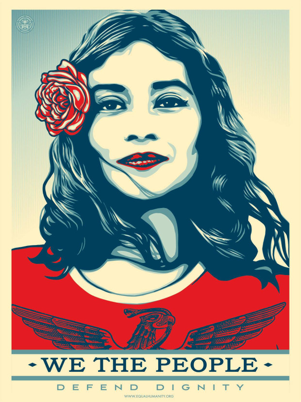 Defend Dignity Fear by Shepard Fairey. Photographer: Ridwan Adhami. From the Amplifier Foundation's We The People campaign.