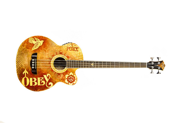 Shepard Fairey's guitar. Image courtesy of War Child USA