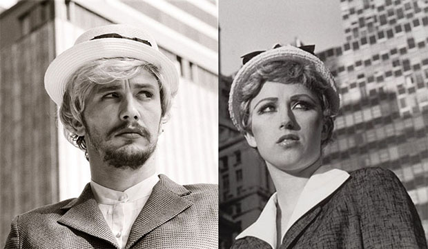 Detail from James Franco's New Untitled Film Still 21 (2013); detail from Cindy Sherman's Untitled Film Still 21 (1978)