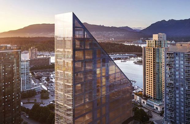 Shigeru Ban's timber trapezoid tower for Vancouver