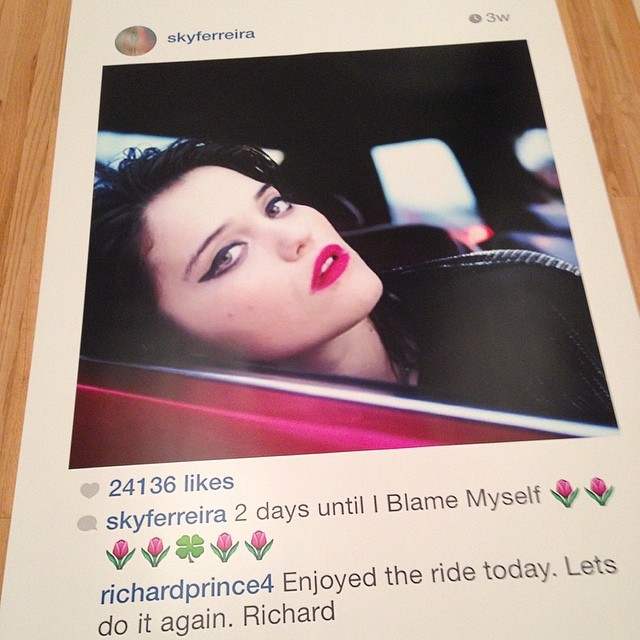 Sky Ferreira by Richard Prince from Richard Prince's Instagram account