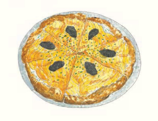 Pizza with Smoked Salmon and Caviar, Wolfgang Puck, Spago, United States 1982
