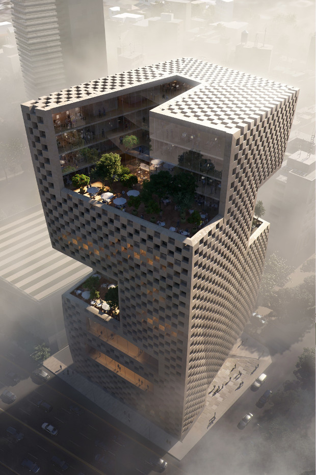 Snøhetta's design for Banque Libano-Française's Beirut headquarters. Image courtesy of Snøhetta