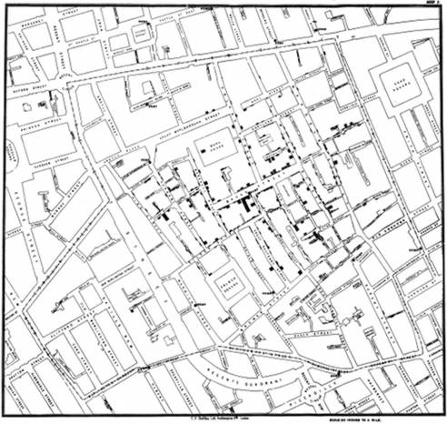 Deaths from Cholera in Soho, 1885, by John Snow. From Map