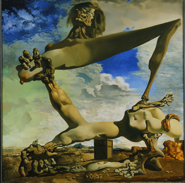 Soft Construction with Boiled Beans (Premonition of Civil War), 1936, Salvador Dalí, Spanish, 1904‑1989, Oil on canvas, 39 5/16 x 39 3/8 inches (99.9 x 100 cm), Philadelphia Museum of Art, © Salvador Dali, Gala‑Salvador Dali Foundation / Artists Rights Society (ARS), New York