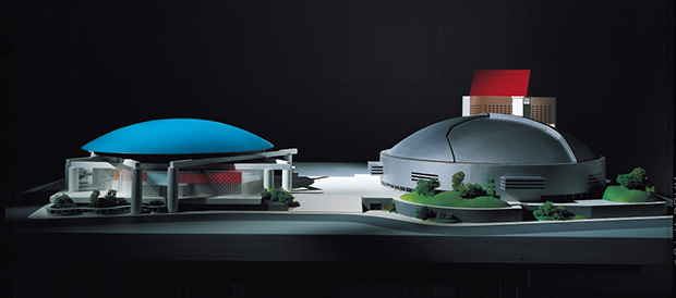 Models for Twin Dome City Complex, Fukouka, Japan, 1991-93, by Ettore Sottsass