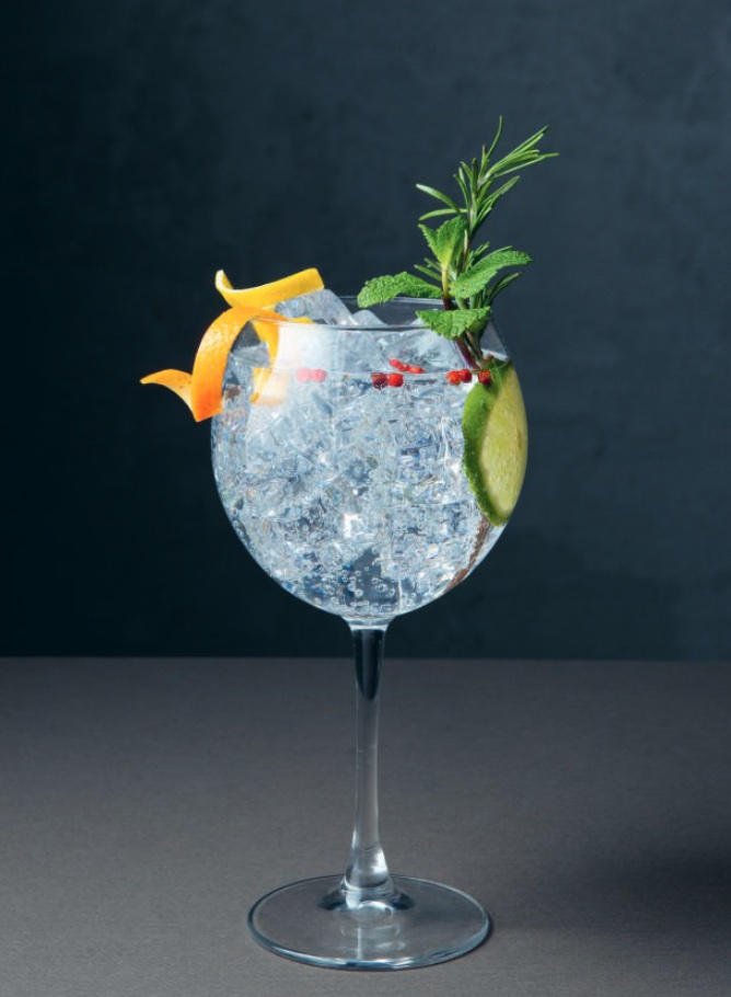 Spanish Gin & Tonic. You can make a no-alcohol version of this by substituting the gin for Seedlip's non-alcoholic spirit