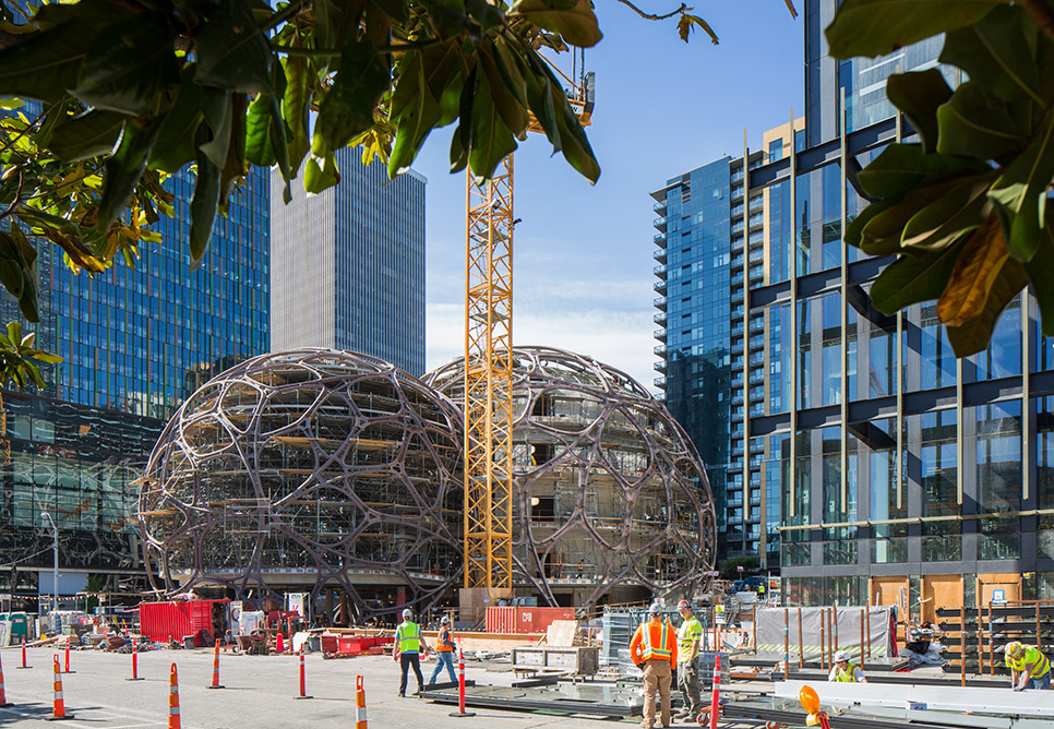 The Spheres mid-construction. Image courtesy of NNBK