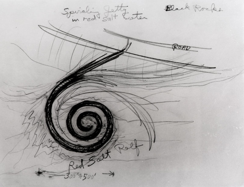 Spiral Jetty drawing (c. 1970) by Robert Smithson