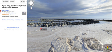 Spiral Jetty as seen on Google Street View