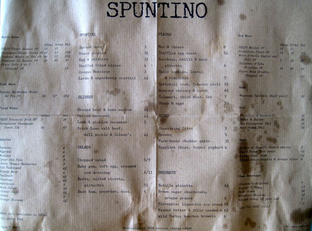 Menu from Spuntino, London