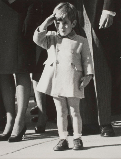John F. Kennedy, Jr., saluting his father's caisson, by Stanley Sterns (November 1963)