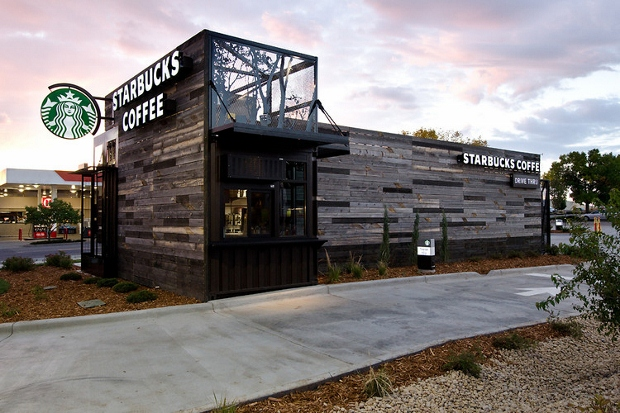 Starbucks' first drive-through, delivered on a truck