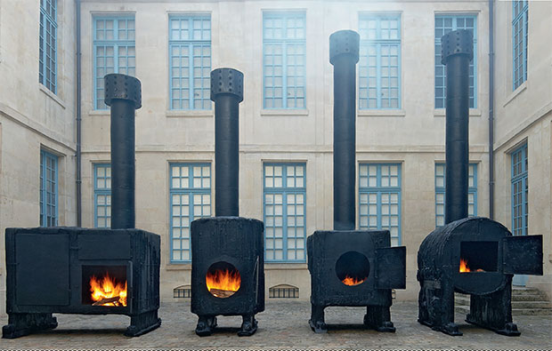 Sterling Ruby - Black Stoves 1, 2, 3, 4 painted stainless steel - installation view at La Museé de la Chasse et de la Nature, Paris