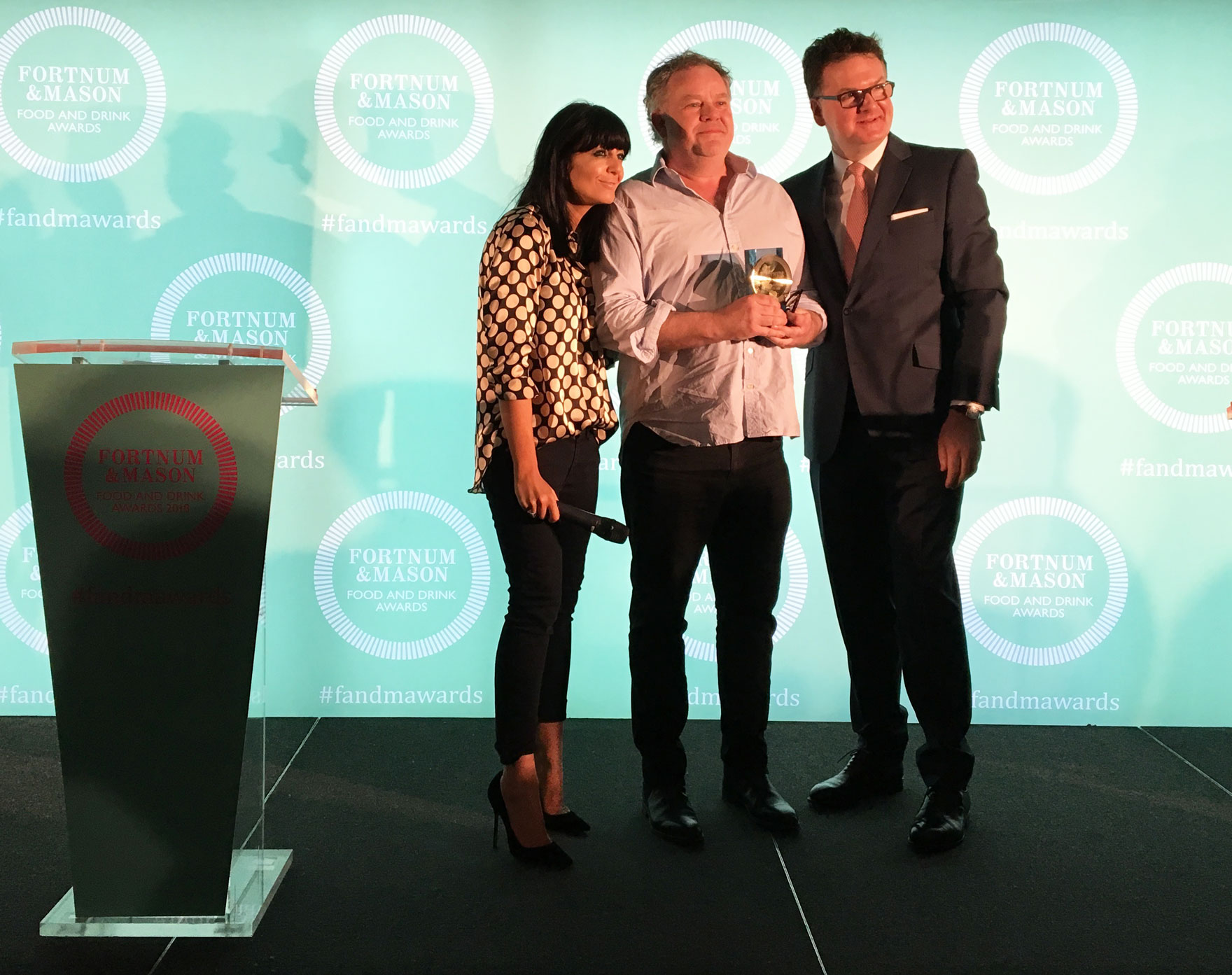 Claudia Winkleman, Stephen Harris and Fortnum & Mason CEO Ewan Venters