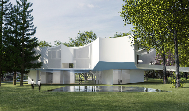 Renderings for the new Visual Arts Building at Franklin & Marshall College, Lancaster, Pennsylvania, by Steven Holl. Image courtesy of stevenholl.com
