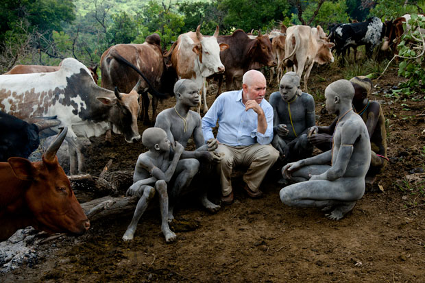 Steve McCurry with members of the Surma tribe Copyright:  Steve McCurry